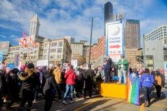 Seattle millón de marzos para mujer Imágenes de archivo libres de regalías