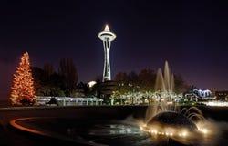 Seattle-Mittelweihnachtsleuchten stockfotos