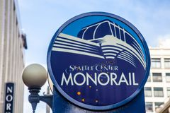 Seattle Monorail Sign at Nordstrom`s Downtown Seattle stock images