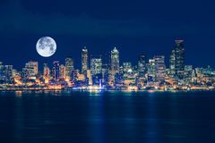 Seattle and the Moon Skyline Stock Photo
