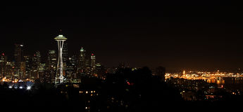 Seattle na noc Obraz Royalty Free
