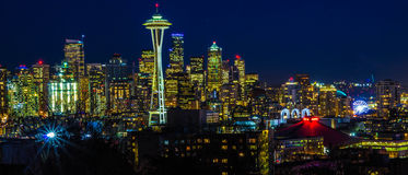 Seattle-Nacht Lizenzfreie Stockfotos