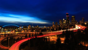 Seattle nachts Stockfoto