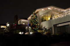 Seattle neighborhood Christmas lights house. Beautiful Christmas lights in Olympic Manor Seattle stock images