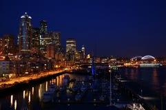 Seattle nella notte Immagini Stock Libere da Diritti
