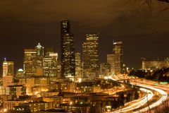 Seattle at night Royalty Free Stock Photo