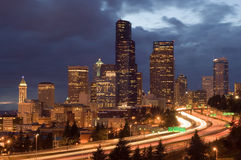 Seattle at night Stock Images