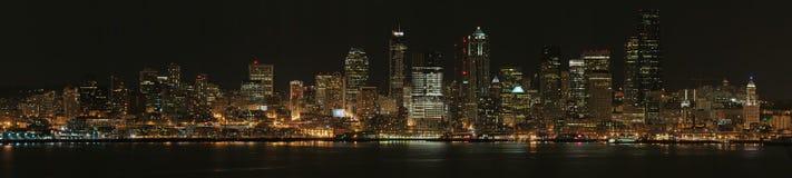 Seattle at Night. Panorama of Seattle at night, United States Stock Photo