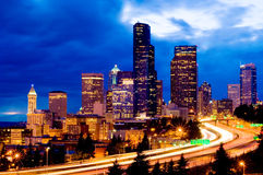 Seattle at night stock photography