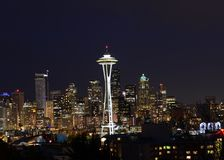 Seattle night skyline. Taken from a ridge overlooking the Seattle skyline, the city seems quiet and at peace Royalty Free Stock Photo