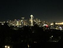 Seattle night spaceneedle space needle amazing city sky Royalty Free Stock Photo