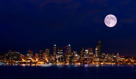 Seattle night view from Hamilton Park Stock Photos