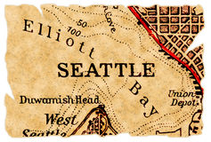 Seattle old map Stock Photos