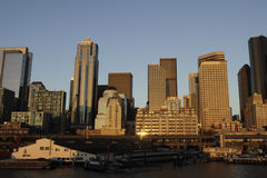 Seattle panorama. Panorama of Seattle downtown from Elliot Bay Stock Photo