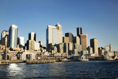 Seattle panorama. Panorama of Seattle downtown from the harbor side Stock Photography