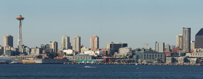 Seattle Panorama, Elliott Bay, Washington State Royalty Free Stock Images