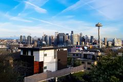 Seattle Panorama Skyline at day-time with Space Needle Tower stock photos