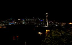 Seattle Panorama Skyline at night witah Space Needle stock photos