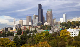 Seattle Panoramic Interstate 5 Building Landscape Stock Photography