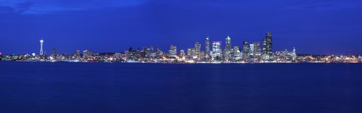 Seattle panoramic. At twilight (large file Royalty Free Stock Images