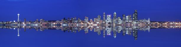 Seattle panoramic. And reflection at twilight (large file Stock Photo