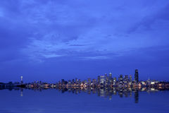 Seattle panoramic at night Stock Photography