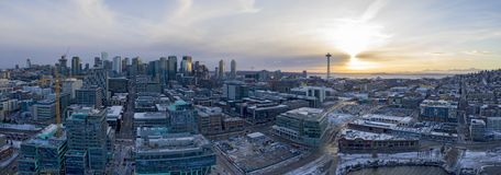 Seattle Panoramic Snow Winter Weather Sunset Skyline Architecture Buildings stock photography