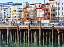 Seattle Pier. An illustration of the waterfront in Seattle Stock Image