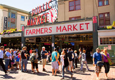 Seattle - Pike Place Public Market. Pike Place Market is a public market in the  Elliott Bay waterfront in Seattle, Washington, United States Stock Photo