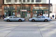 Seattle police cars. Two Seattle police cars head to head parked on the same side Royalty Free Stock Photos
