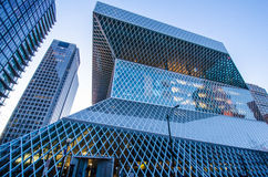 Seattle Public Library. View of the geometric design of theSeattle Public Library from 5th Avenue on a clear sunny day Stock Photography