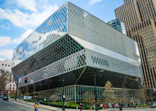 Seattle Public Library. View of Seattle Public Library from 4th Avenue on a clear sunny day Royalty Free Stock Image