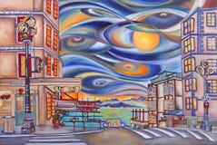 Seattle Public Market painting. Royalty Free Stock Image