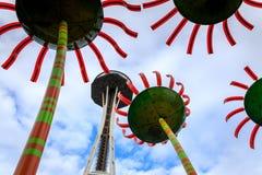 Seattle-Raum-Nadel unter der Umgestaltung des Baus Stockfotos