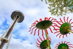 Seattle-Raum-Nadel unter der Umgestaltung des Baus Lizenzfreie Stockfotografie