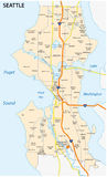 Seattle road and neighborhood map. Roads and neighborhood map of seattle, the capital of the US state Washington Royalty Free Stock Photography