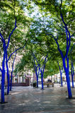Seattle's Blue Trees. The blue trees at the downtown Westlake Park is a public art display emphasizing the importance of trees to our survival. The project with Royalty Free Stock Photo