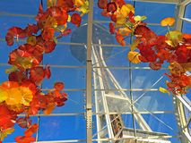 Chihuly Glass Archway over Seattle Space Needle royalty free stock photo
