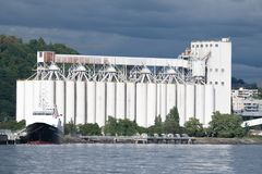 Seattle`s Grain Terminal on Elliott Bay Royalty Free Stock Photo