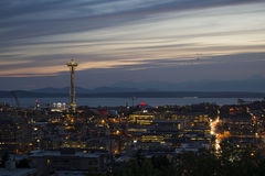 Seattle's Space Needle at dusk. Royalty Free Stock Images