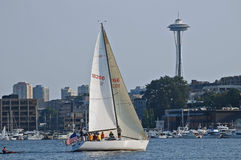 Seattle Sailboat Racer Stock Photo