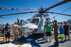 Seattle Seafair tourist on the USS Boxer. Image taken 2015 Seattle Seafair crowd of tourists on the deck of the Wasp Class amphibious assault ship USS Boxer Stock Images