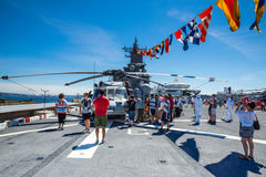 Seattle Seafair tourist on the USS Boxer. Image taken 2015 Seattle Seafair crowd of tourists on the deck of the Wasp Class amphibious assault ship USS Boxer Royalty Free Stock Images