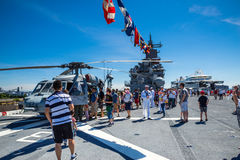 Seattle Seafair tourist on the USS Boxer Royalty Free Stock Image