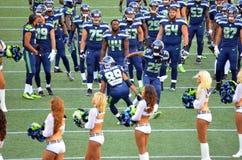 Seattle Seahawks Doug Baldwin And Richard Sherman firar royaltyfri bild