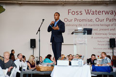Seattle Seahawks Doug Baldwin. Doug Baldwin, wide receiver for the Seattle Seahawks was the keynote speaker for The Salvation Army in Tacoma Fishes and Loaves stock photo