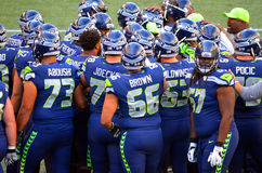 Seattle Seahawks Pre Game Huddle. At Century Link Field Royalty Free Stock Photography