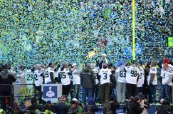 Seattle Seahawks Victory Celebration Imagem de Stock Royalty Free