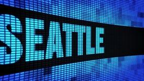 SEATTLE-Seitentext, der LED-Wand-Anzeigetafel-Zeichen-Brett in einer Liste verzeichnet stock video footage