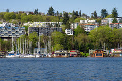 Seattle Shoreline with Houseboats Stock Photography